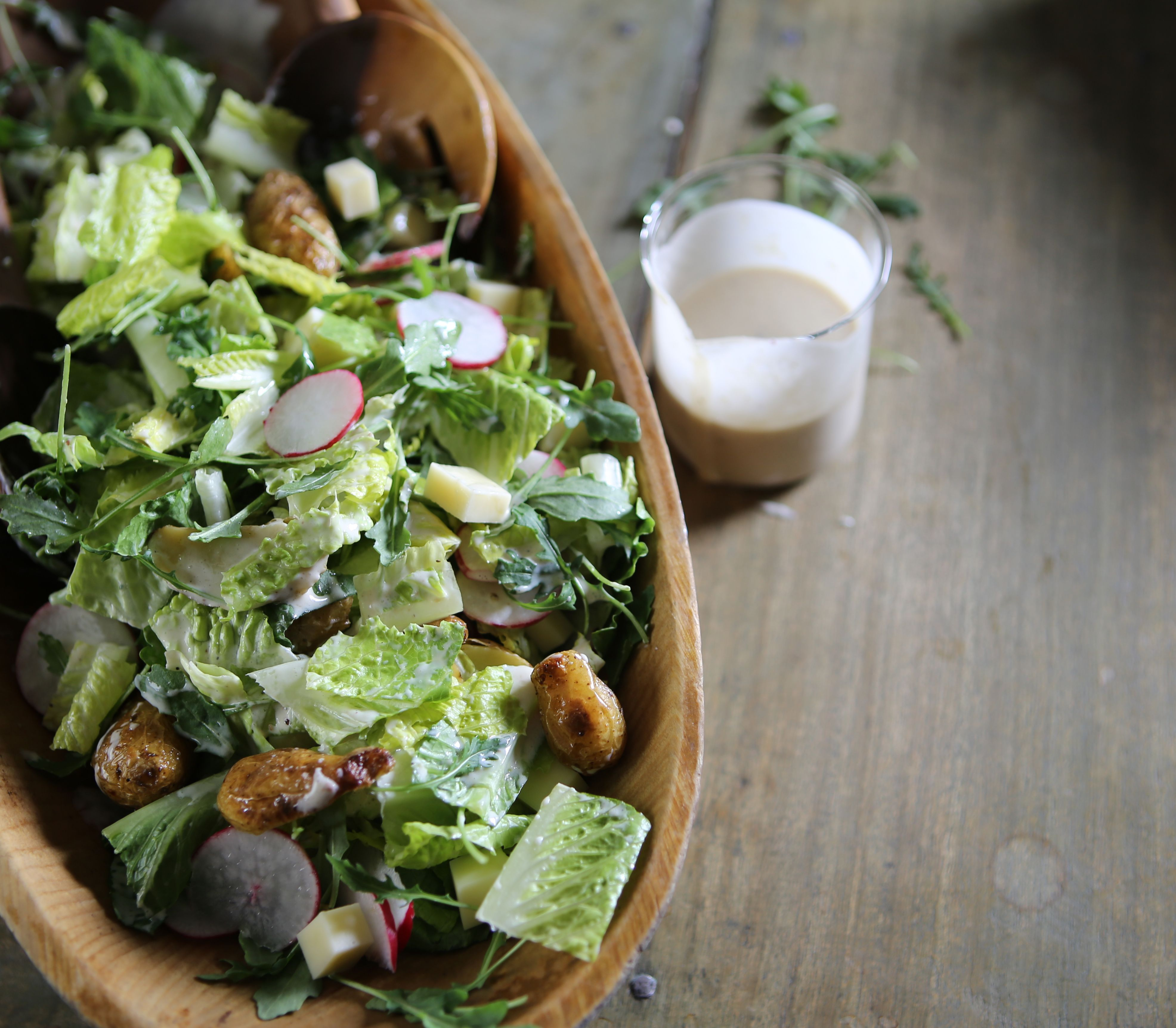 Garlicky Green Salad Recipe Green Salad Dinner Salads Mediterranean Salad Recipe