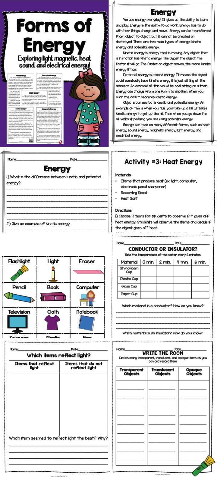 Workbooks sound energy worksheets : Forms of Energy {light, magnetic, electrical, heat, and sound ...