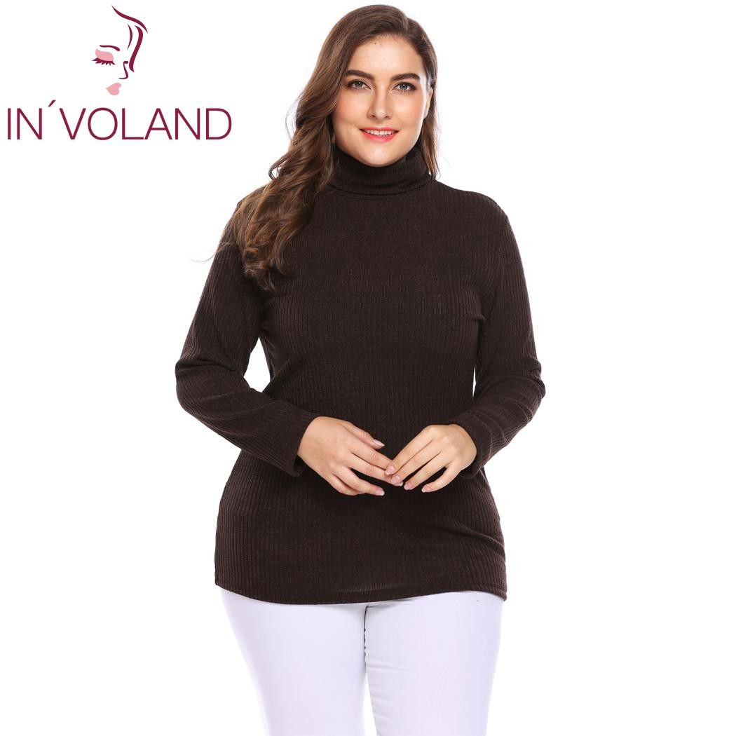 71c01d7f2f How to Original Price US  31.33 Sale Price US  16.60 IN VOLAND Plus Size  Women Pullover Sweaters Autumn Winter Basic Classic Warm Mock Turtleneck  Solid ...