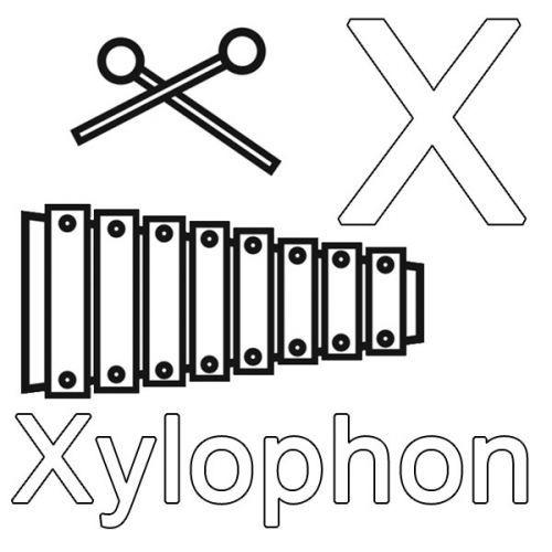 Buchstaben Lernen Kostenlose Malvorlage X Wie Xylophon Zum