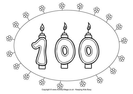 100th Birthday Colouring Page Birthday Coloring Pages 100th