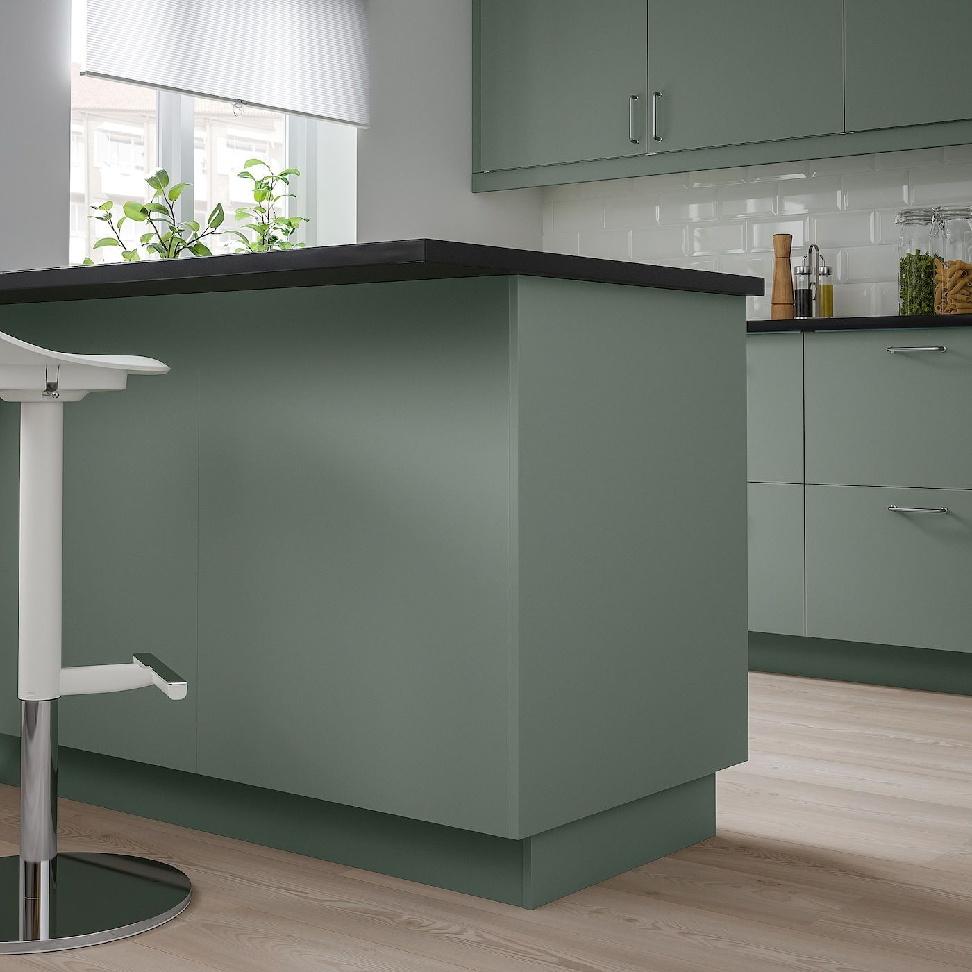 Bodarp Cover Panel Gray Green Ikea In 2020 Ikea Kitchen Design Cottage Kitchen Design Green Kitchen Cabinets