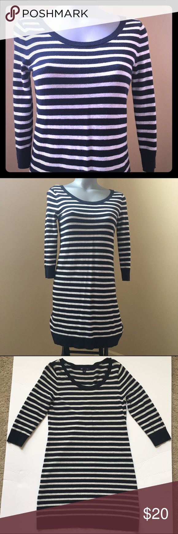 Gap Striped Navy Blue Sweater Dress In excellent condition and ...
