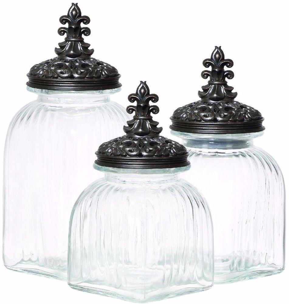 Casa Cortes Baroque Fleur De Lis 3-Piece Black Lid Glass Canister ...