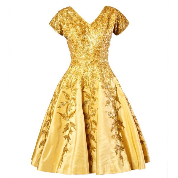 Preowned Vintage 1950s 50s Gold Yellow Hand-beaded  Silk Cocktail... (€1.460) ❤ liked on Polyvore featuring dresses, vestidos, vintage, short dresses, yellow, vintage dresses, yellow dress, vintage beaded dress, white mini dress and short white dresses