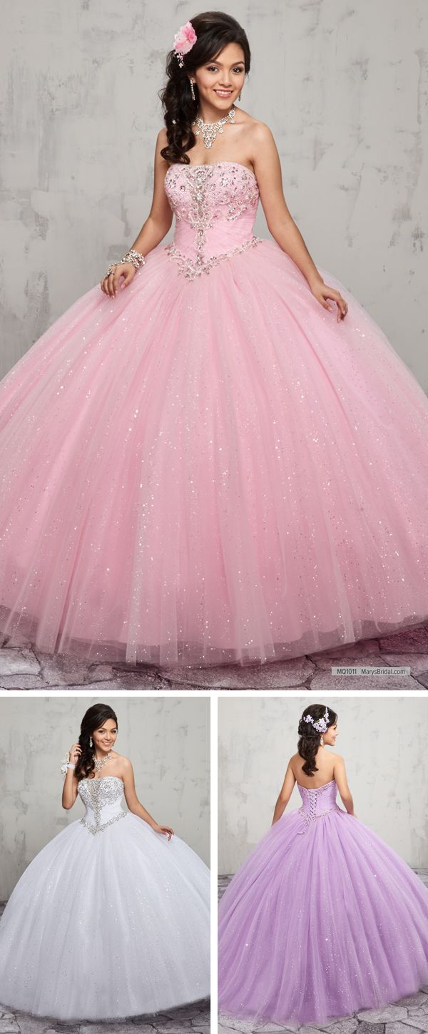 MQ1011 Sparkling tulle quinceanera ball gown features strapless ...