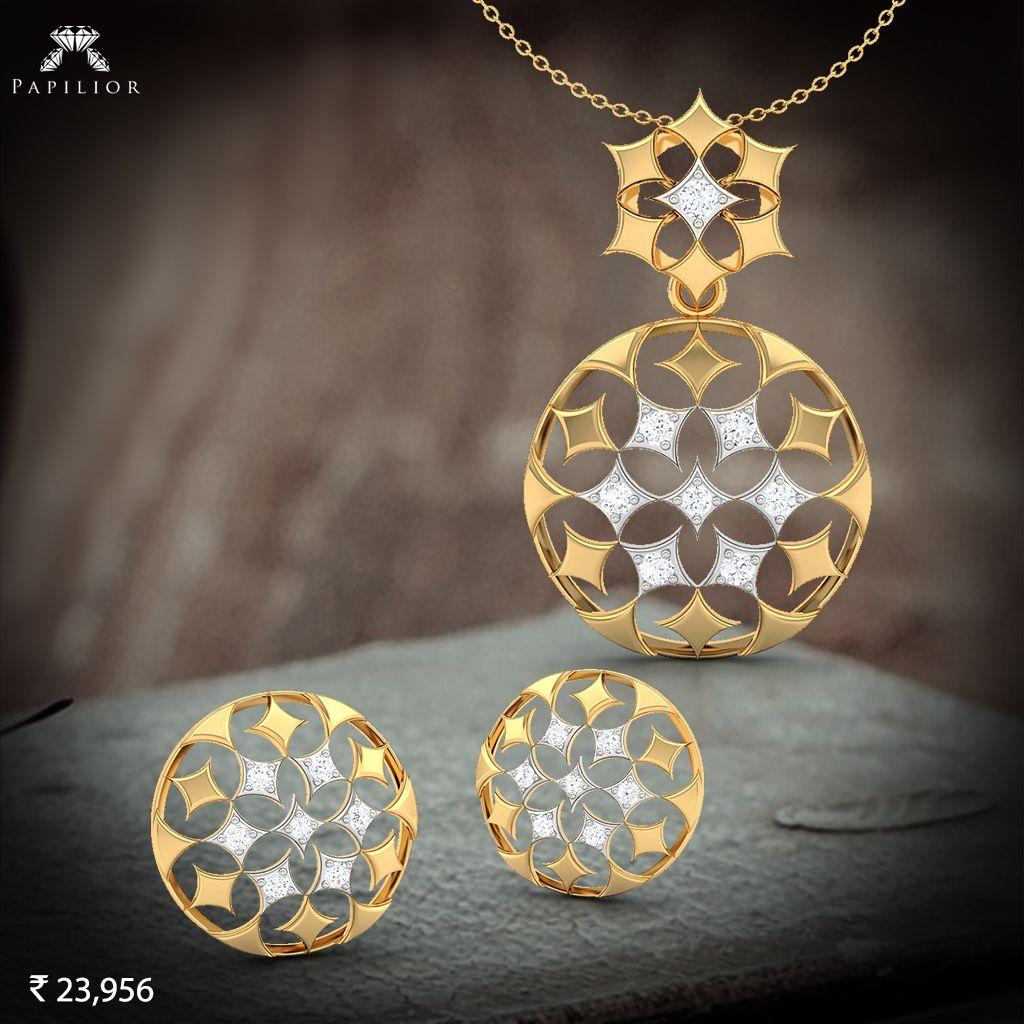 Maureen delicate gold pendant set online for women in