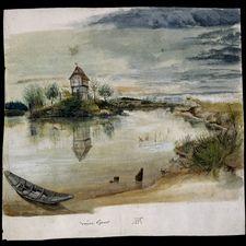 Albrecht Dürer,  Fisherman's house on a lake, near Nuremberg, a watercolour Around AD 1496