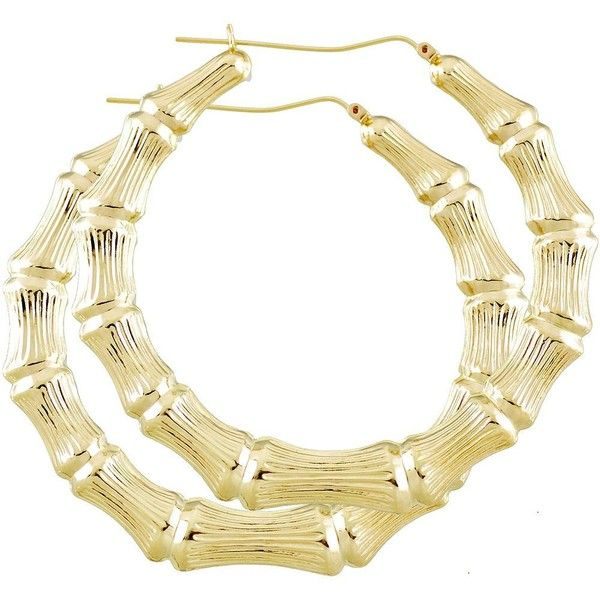 10K Gold Round Hollow Doorknocker Bamboo hoop Earrings 3