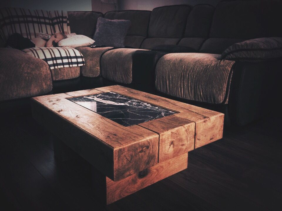oak railway sleeper coffee table. chunky oak interior design table