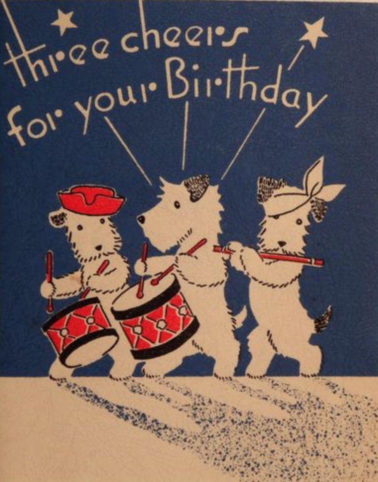 Anne Louise Avery On Twitter Vintage Birthday Cards Vintage Birthday Fox Terrier