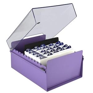Acrimet 5 X 8 Card File Holder Organizer Metal Base Heavy Duty Purple Color With Crystal Plastic Lid Cover Code 923 9 File Holder Card Files Metal Base