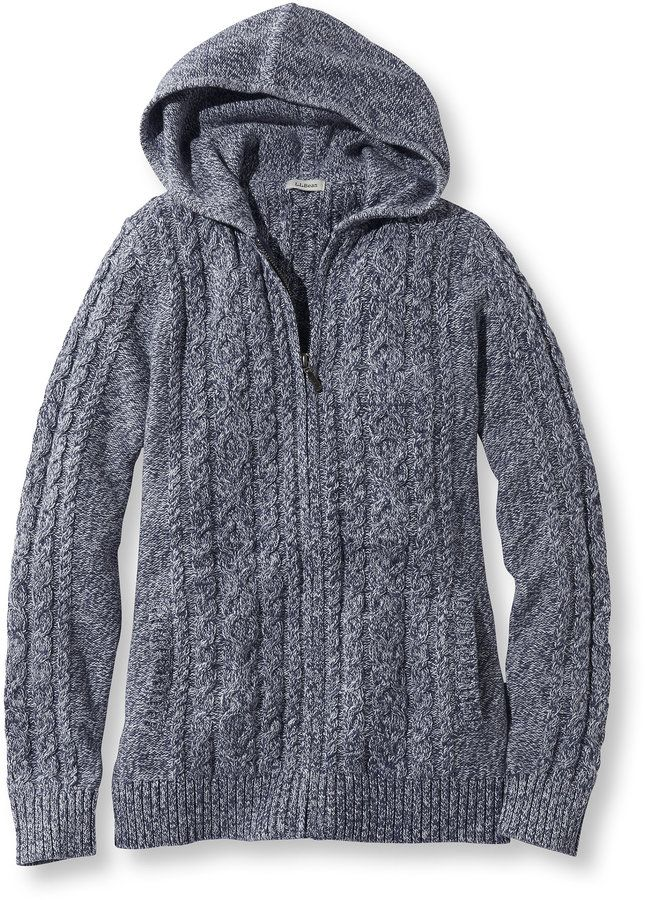 Double L Mixed Cable Sweater, Zip-Front Hoodie Marled | Women's ...