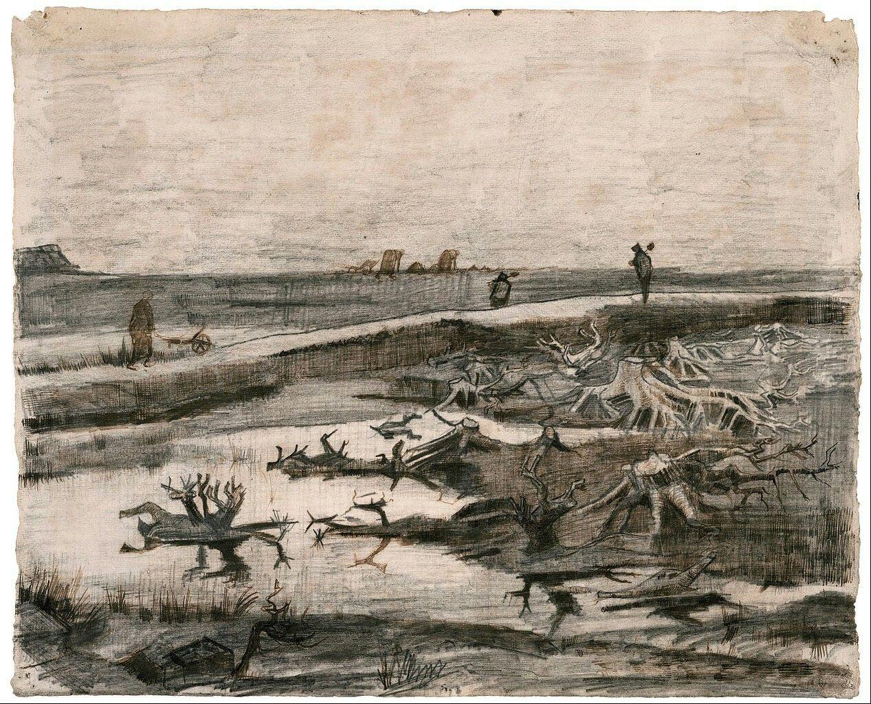 Landscape with Bog Tree Trunks,Vincent van Gogh  1883