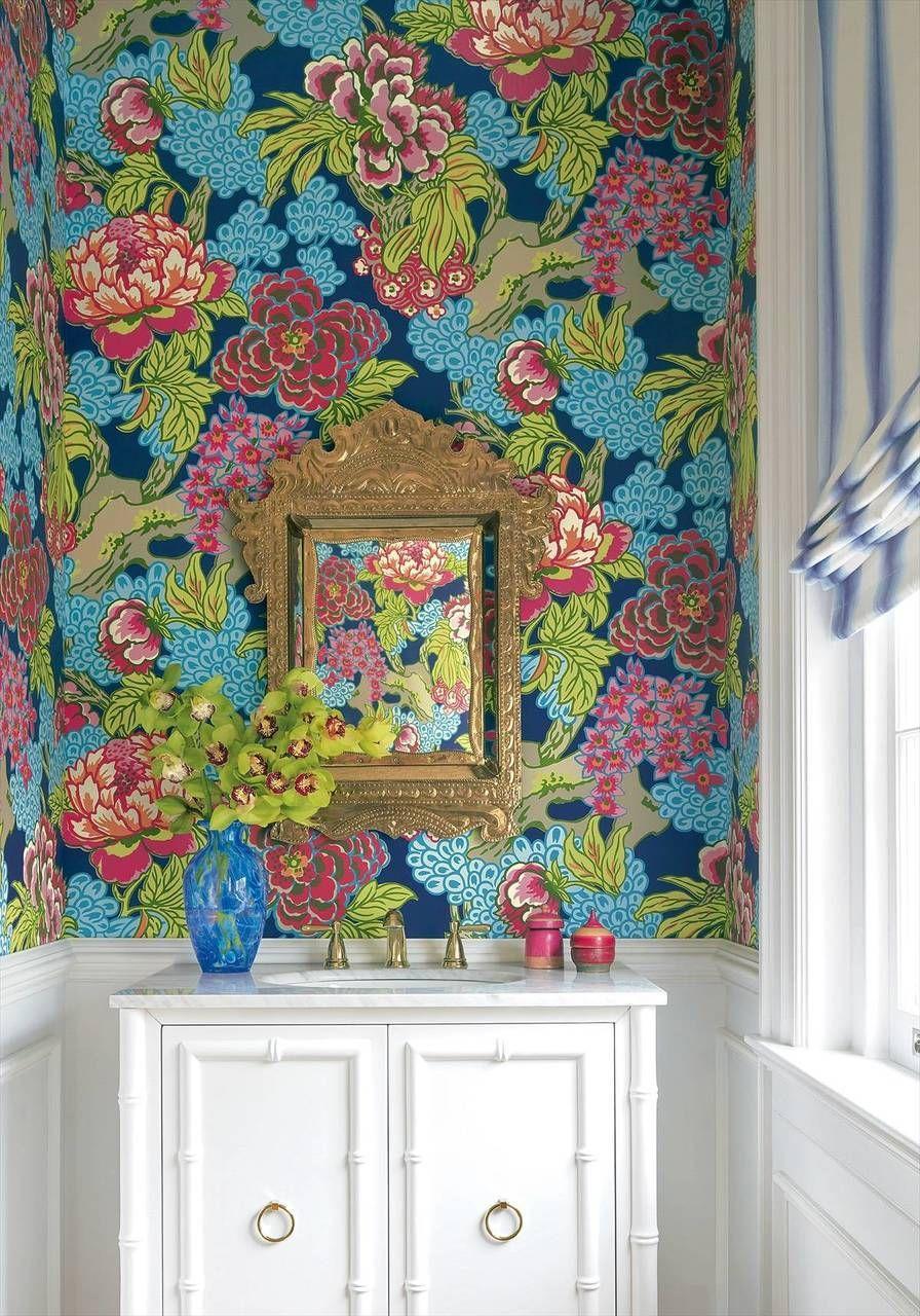 Honshu navy in 2020 Large floral wallpaper, Bathroom