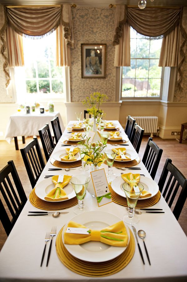 Lime And Yellow Table Setting With Bowtie Napkins Simple Table Settings Modern Table Setting