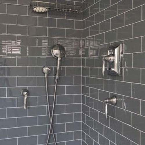 10 X 20 Gloss Dark Grey Brick Metro Ceramic Wall Tiles 100 X 200 Gray Shower Tile Bathroom Shower Stalls Subway Tile Showers