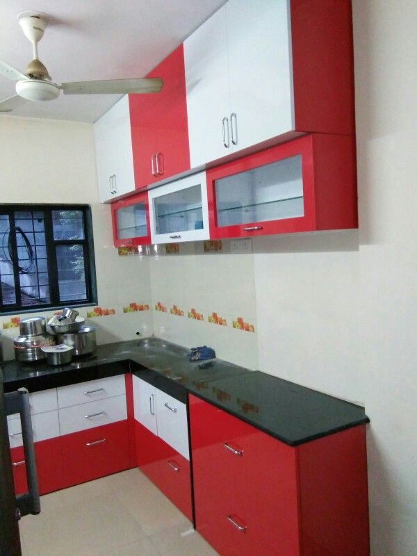 L Shaped Modular Kitchen Extended Platform Upper Opener Shutters