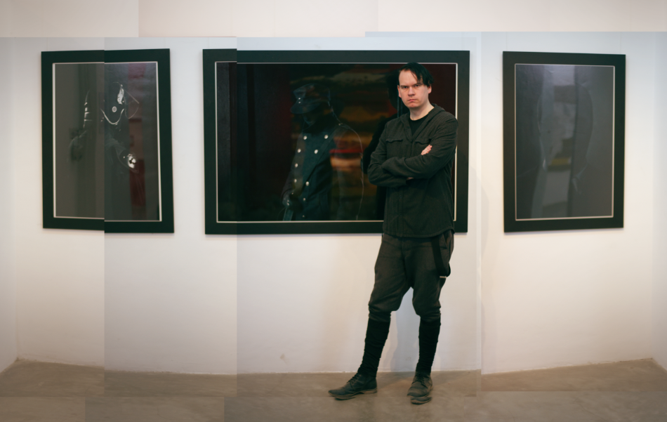 "Juha Arvid Helminen in front of ""Because we entered"" (2011) triptych at the Nepal Art Council in Kathmandu. 2012."