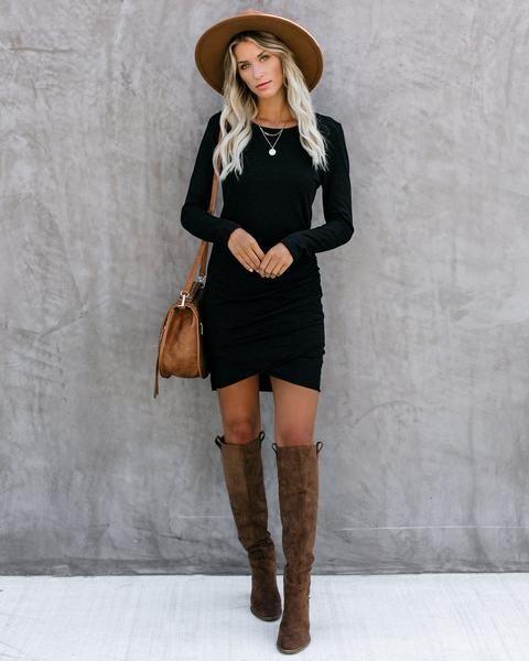 Warner Long Sleeve Cotton Blend Ruched Dress - Black 1