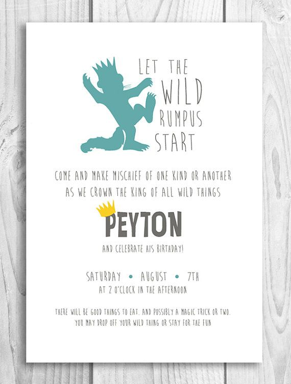 photograph about Let the Wild Rumpus Start Printable referred to as Permit the wild rumpus begin! Printable birthday invitation