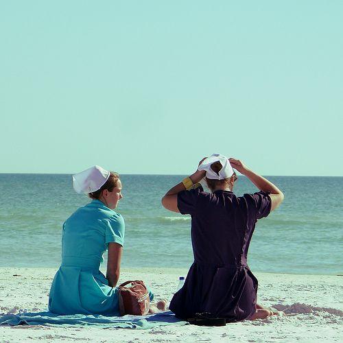 amish teens at the beach