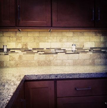 Houzz Kitchen Backsplash Travertine Glass Backsplash