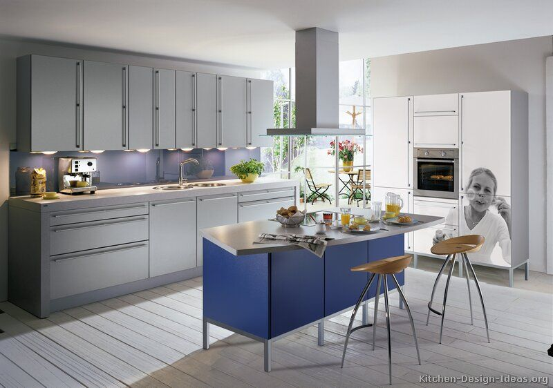 Kitchen of the day a cool gray kitchen with a blue for Blue and white kitchen cabinets