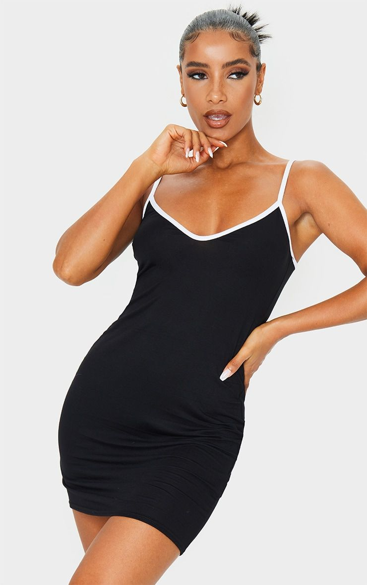 Black V Neck Binding Contrast Strappy Bodycon Dress Bodycon Dress Bodycon Dresses [ 1180 x 740 Pixel ]