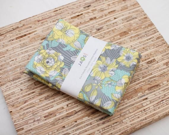 Large Cloth Napkins - Set of 4 - (N3499) - Climbing Vines Floral Reusable Fabric Napkins #clothnapkins