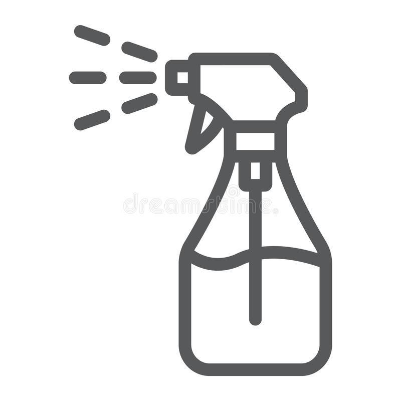 Foggy Spray Line Icon Liquid And Fluid Spray Bottle Sign Vector