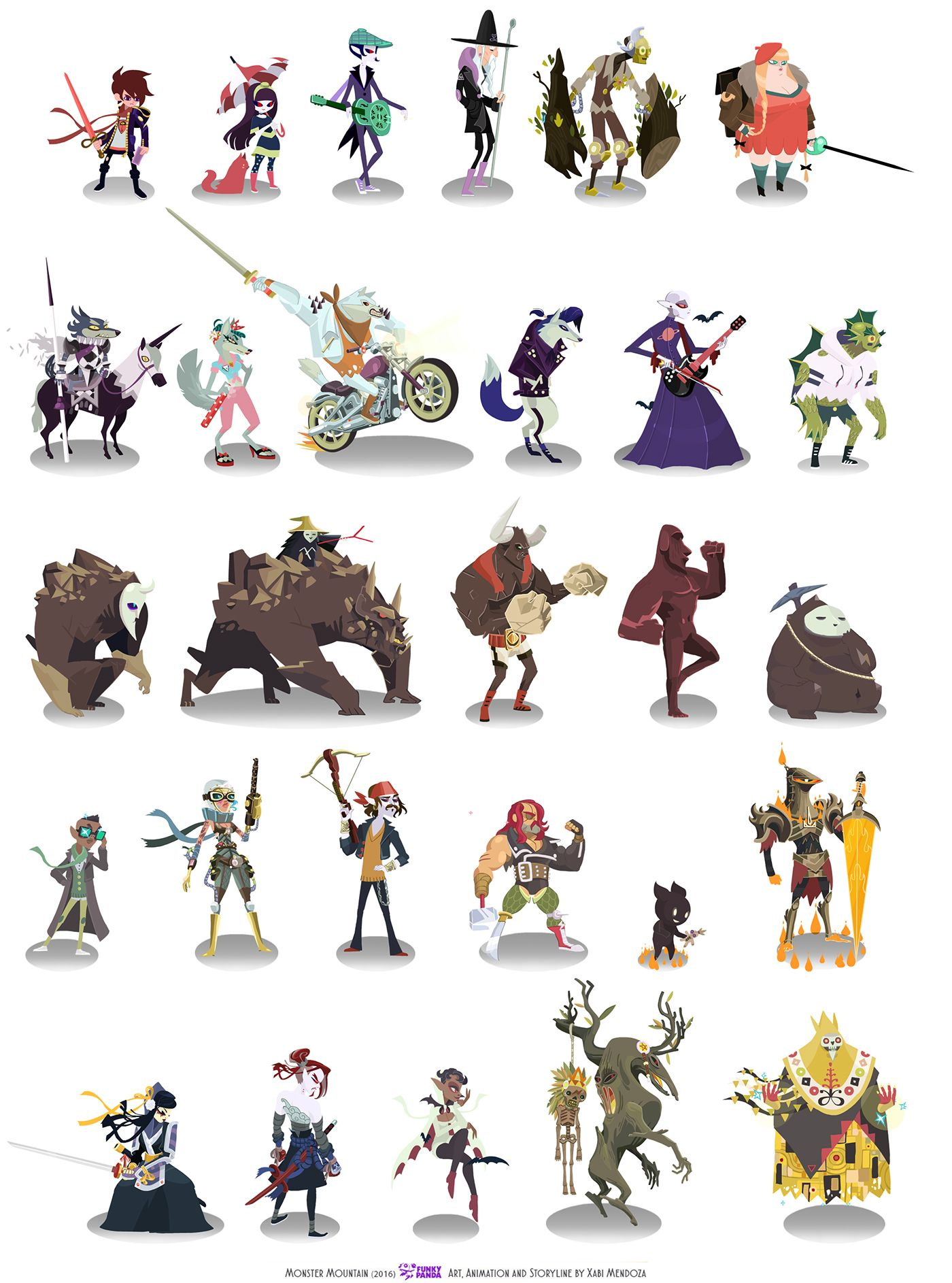 Character Card Collection For Mobile Game Monster Mountain By Xabi Mendoza