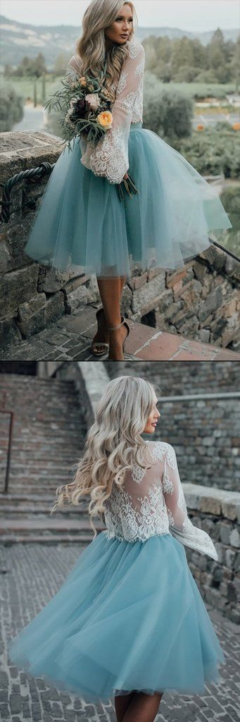 Long Sleeve Lace Short Turquoise Homecoming Prom Dresses, Affordable Short Party... 4