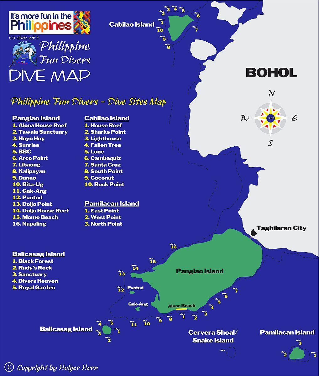 Dive sites map Philippine Fun Divers Alona Beach Panglao Bohol