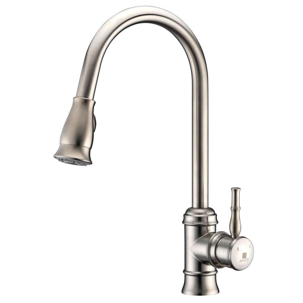 Anzzi Sails Series Single Handle Pull Down Sprayer Kitchen Faucet