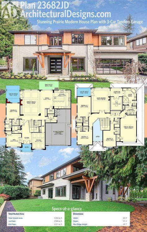 Plan 23682jd Stunning Prairie Modern House Plan With 3 Car Tandem