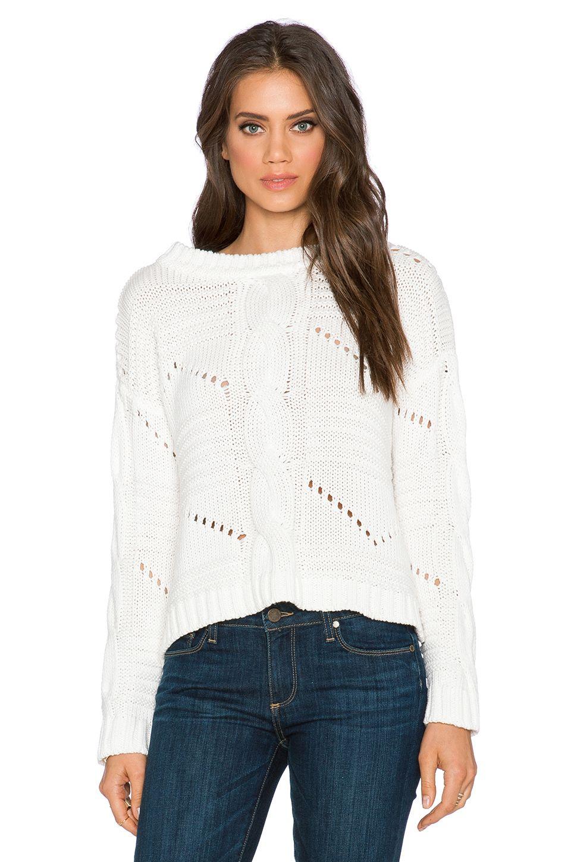 525 america Center Cable Crop Sweater in White Cap