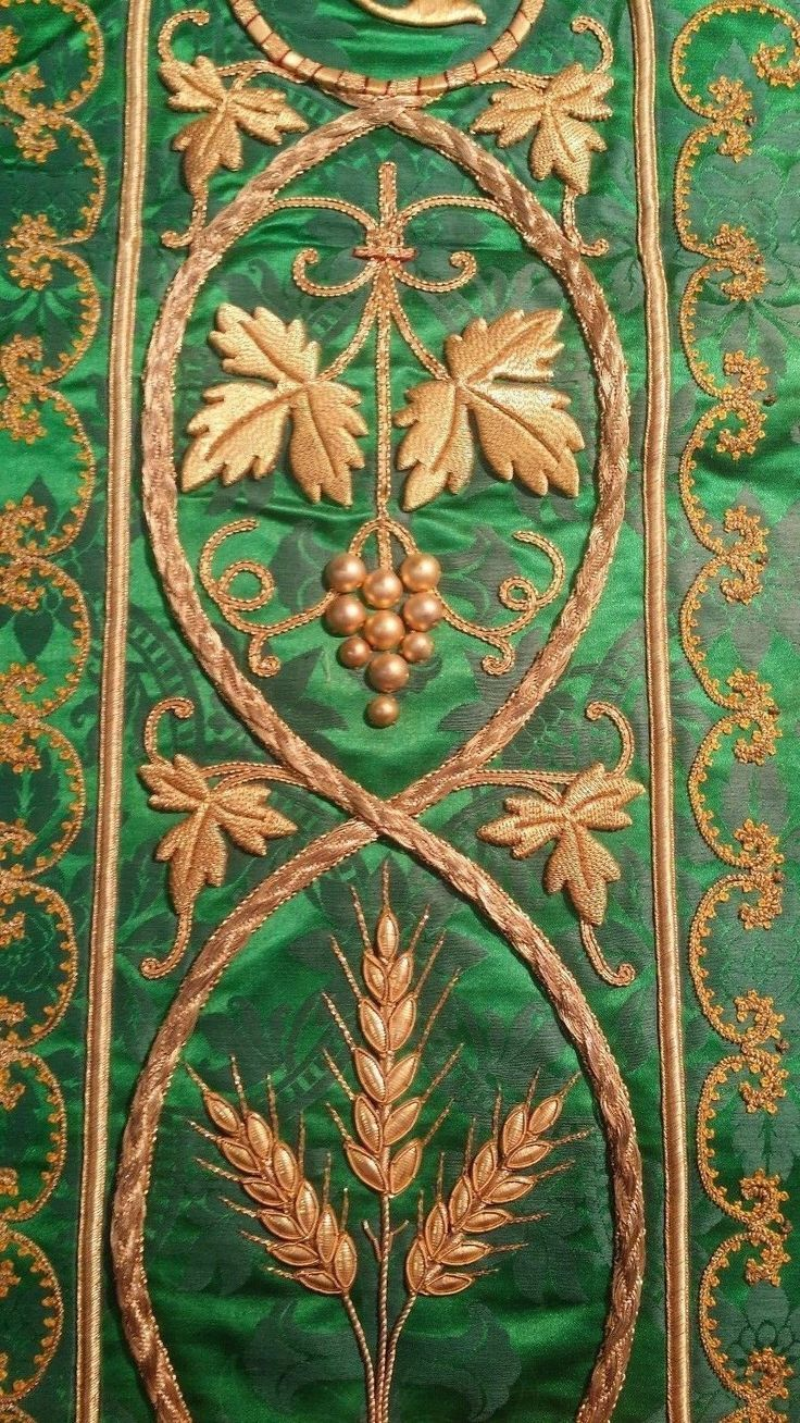 http://www.ebay.com/itm/Antique-French-Vestment-IHS-Embroidered-Panel-Green-Damask-1920-039-s-/282390830441?