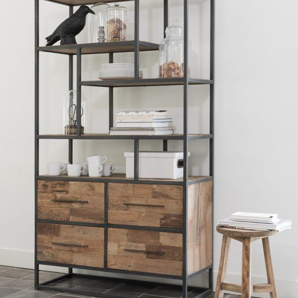 Bookcase low, 4 drawers, 4 open racks 180x100