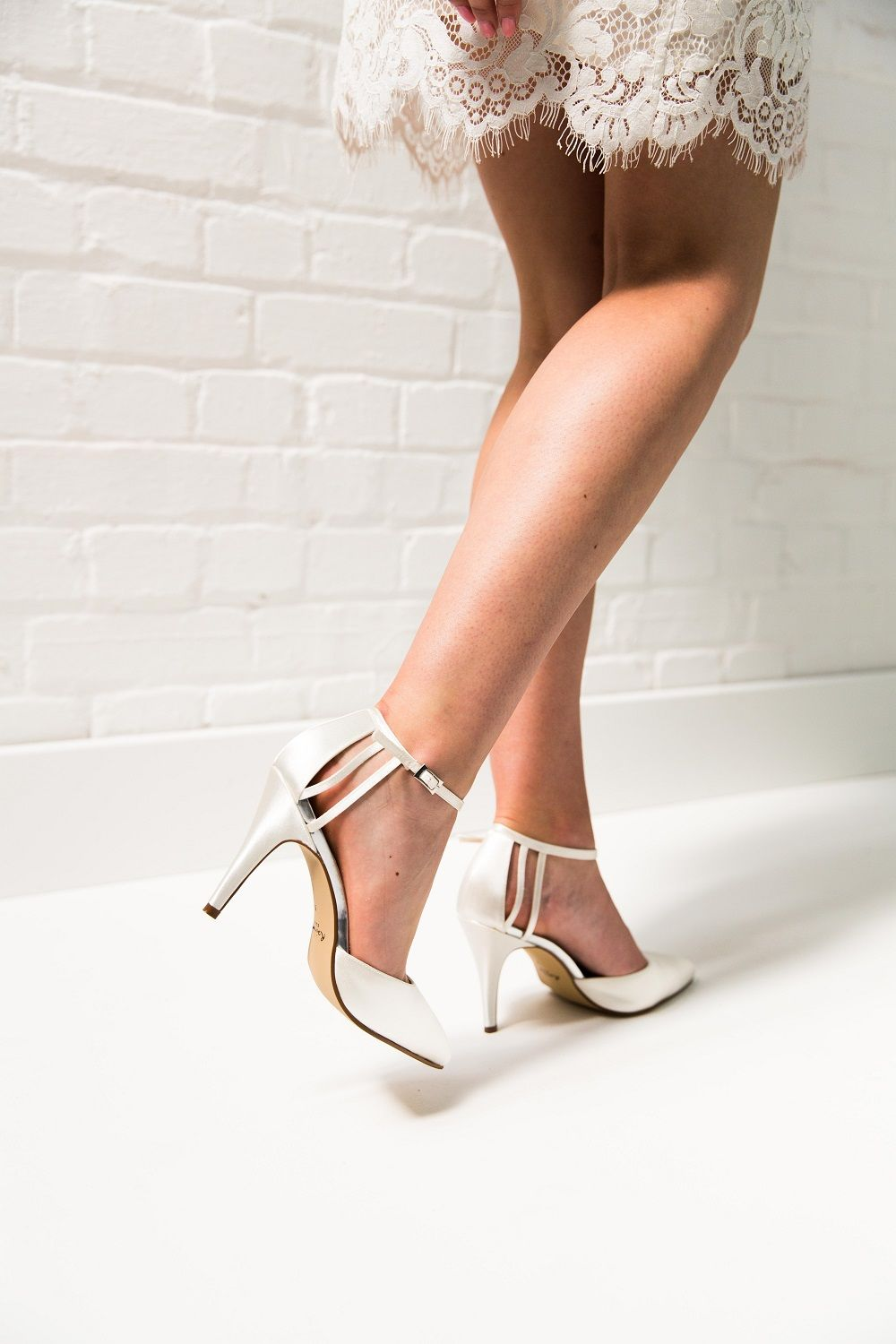 69f4ae74c91 Kennedy Ivory Satin Ankle Strap Court Shoes - A real showstopper of a bridal  shoe