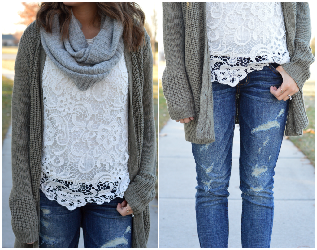 Earthy Tones | Chunky cardigan, Jeggings and White lace