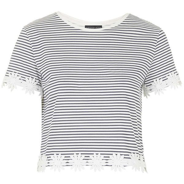 4ce14cb7e10 TOPSHOP PETITE Striped Daisy Trim Tee ($30) ❤ liked on Polyvore featuring  tops, t-shirts, crop tops, topshop, shirts, navy blue, petite, white shirt,  ...