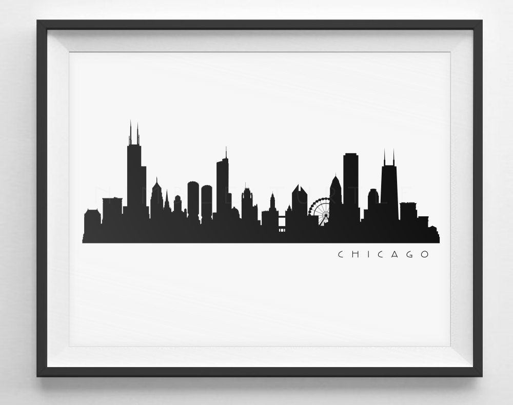 Chicago Skyline Black And White Silhouette