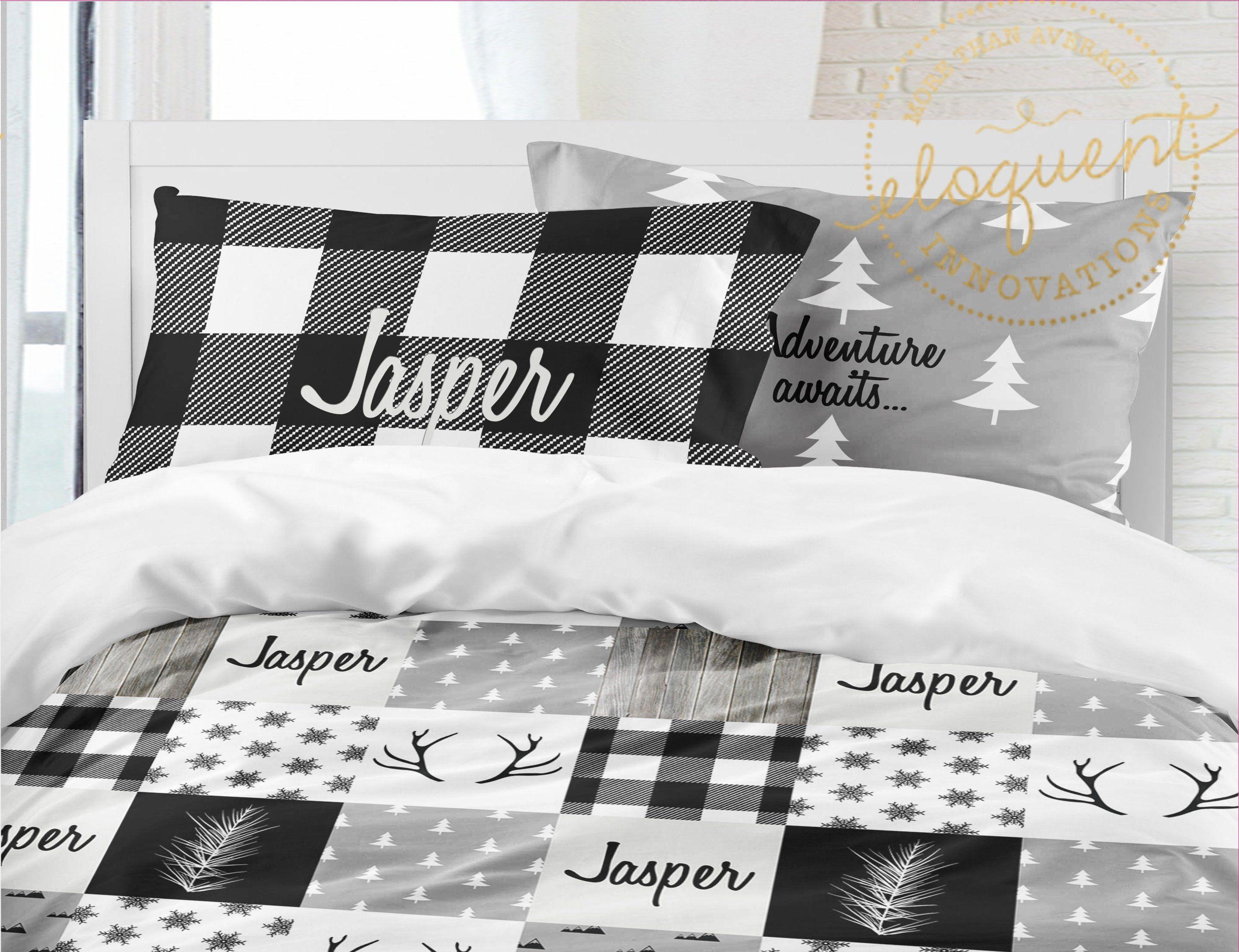 Woodland Bedding Black And White Buffalo Plaid Themed Comforter