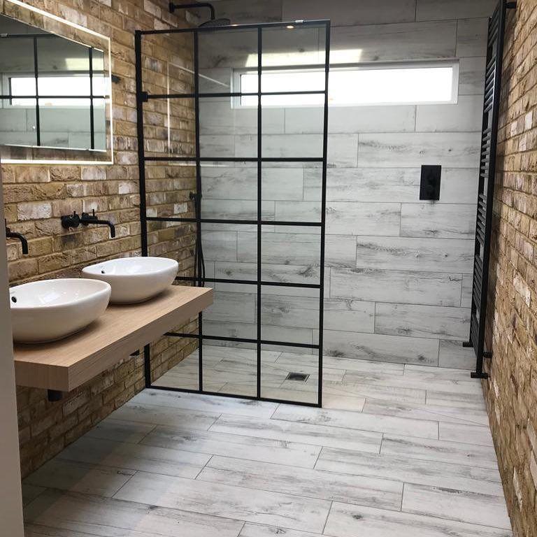 Photo of Liberty 10mm Black Grid Pattern Wetroom Panel