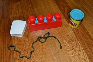 Dental health activity: use large legos as teeth, and playdough as gunk...practice flossing with yarn.