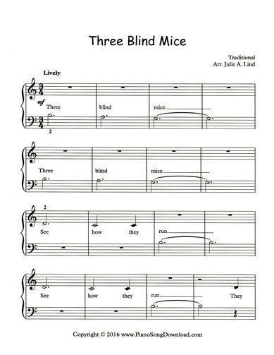 Three Blind Mice Free Sheet Music At Piano Song Download Sheet
