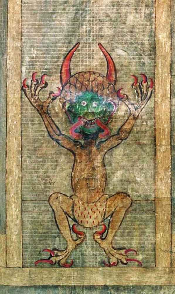 the devil illustration from the medieval codex gigas