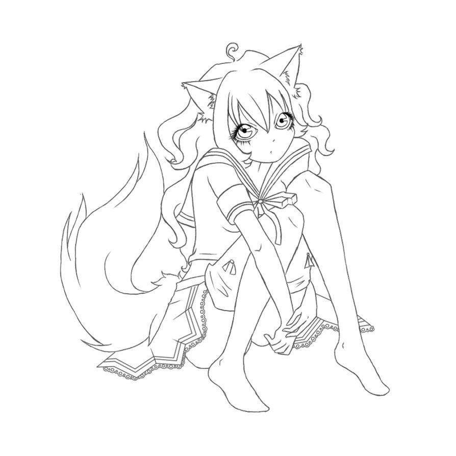 anime fox girl coloring pages nice Free coloring pages of anime girl fox | Mcoloring | Coloring  anime fox girl coloring pages
