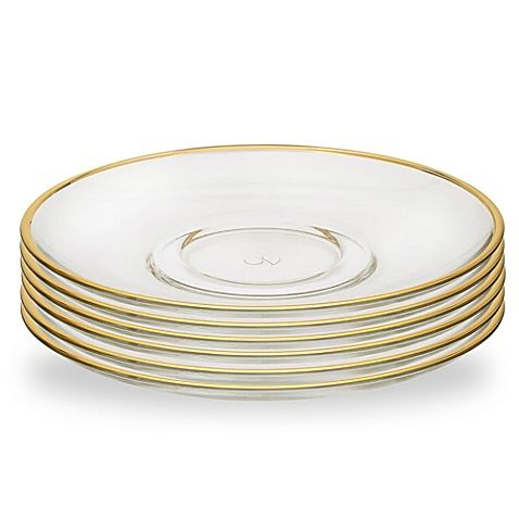 Classic Touch Gold Rim Glass Plate Set Of 6 Gold Rims Glass Plates Plate Sets